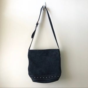 & Other Stories Navy Suede Crossbody Bag